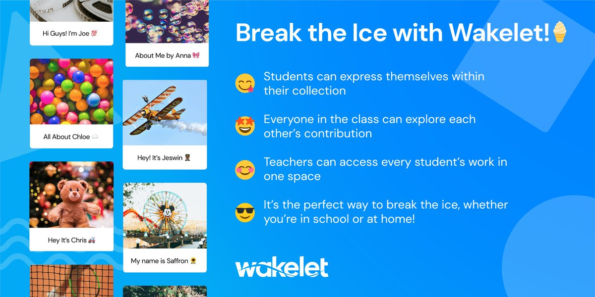 Set up a virtual classroom with Wakelet! Here's a top Community tip!🤔💙  🏗️Create a space in your profile 💡Invite your class to join 👋Ask students to create collections about themselves 💥BOOM! Everyone can explore each others' collections  It's the perfect Ice Breaker! https://t.co/QbtVScCq8G