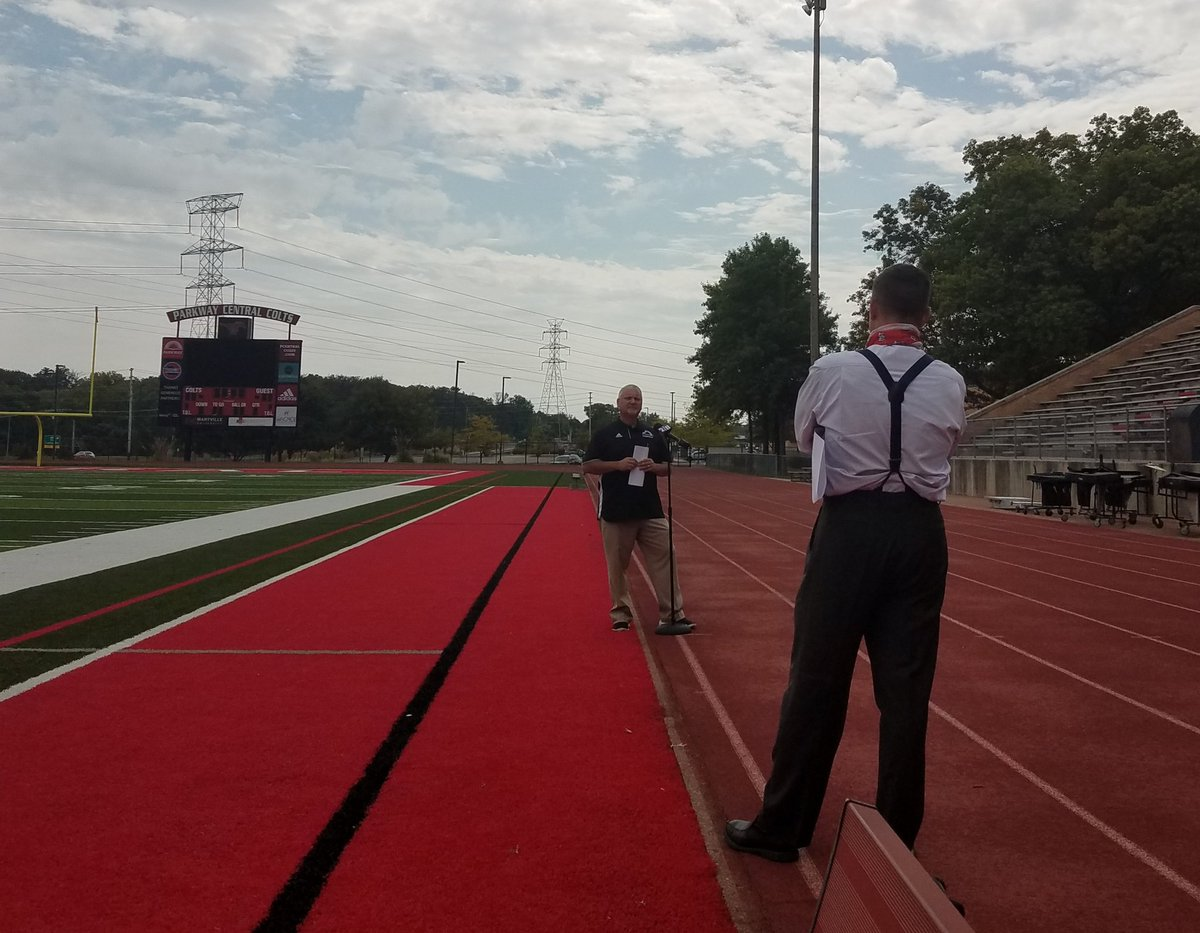 @ParkwaySchools athletic director, Mike Roth, being interviewed by @andybankertv from @FOX2now.