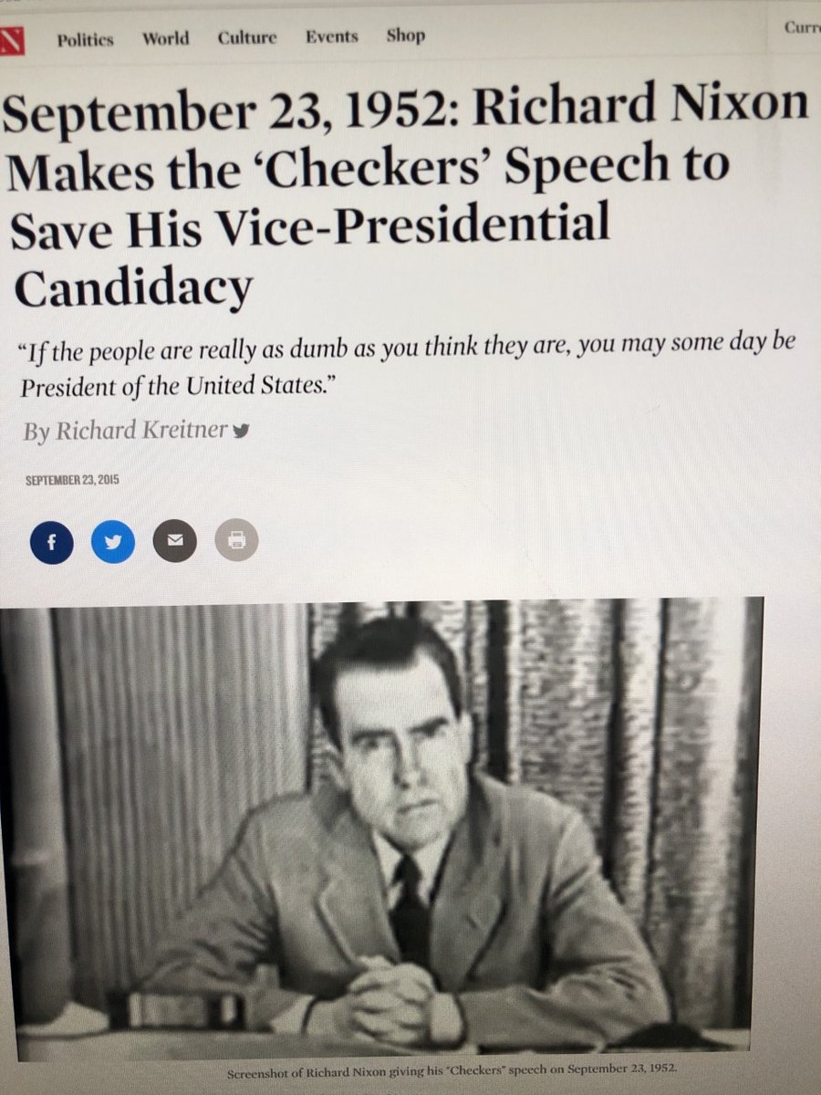 """@realDonaldTrump """"If the people are really as dumb as you think they are, you may someday be President""""  1952: VP Nixon gives """"Checkers"""" speech   Post-speech: """"The Nation"""" article sums as """"A Handbook for Demagogues""""  @HISTORY  #history #nixon #america #usa #unitedstates #unitedstatesofamerica https://t.co/7o6KeePQYm"""
