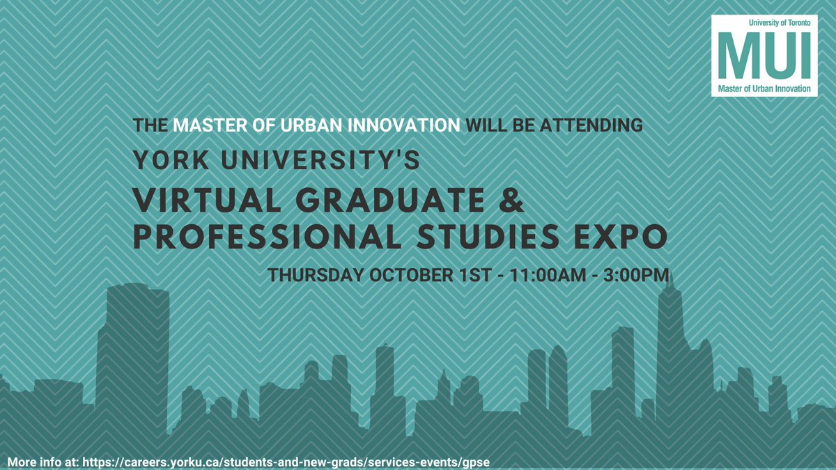 On Thurs. Oct 1st #MUI be online @YorkUCareerCtr's Virtual Graduate & Professional Studies Expo. Join us between 11-3pm to learn more about one of UofT's newest grad programs. Details: https://t.co/Pf6ggPvh19 #gradschool #uoft #yorku #urban #ecodev #innovation #urbanism https://t.co/s7tiqVvPue