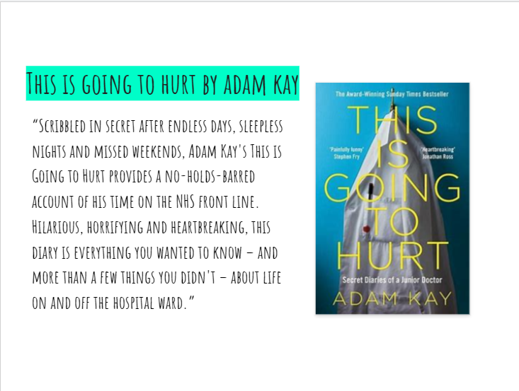 Next week is #PennineCarePeople book club. We will be discussing 'This is going to hurt' by Adam Kay. I hope you have all had a chance to read it. If you have and would like to join a discussion about it log on to Zoom at 1pm on Weds 30th Sept. Contact me for more details. https://t.co/RjAq0ww6qu
