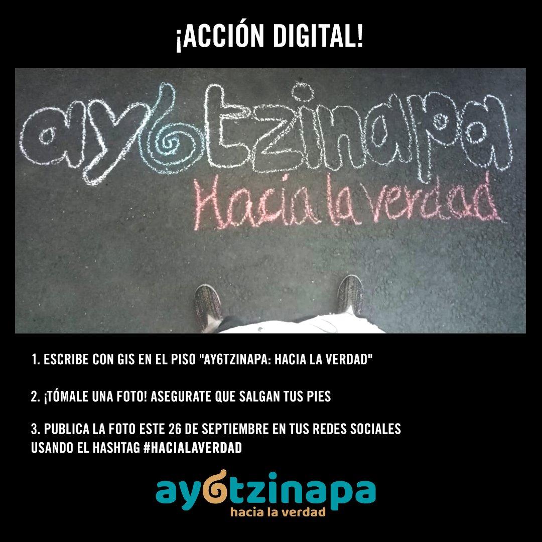 #Ayotzinapa 🐢  Este 26 de septiembre súmate a la acción por el sexto aniversario de la desaparición de los 43 estudiantes de #Ayotzinapa.  Se parte #EnCasa y acompaña a las mamás y papás para sumar sus voces.  Sube un mensaje a tus redes sociales con el HT: #HaciaLaVerdad https://t.co/LMsWKqoejI