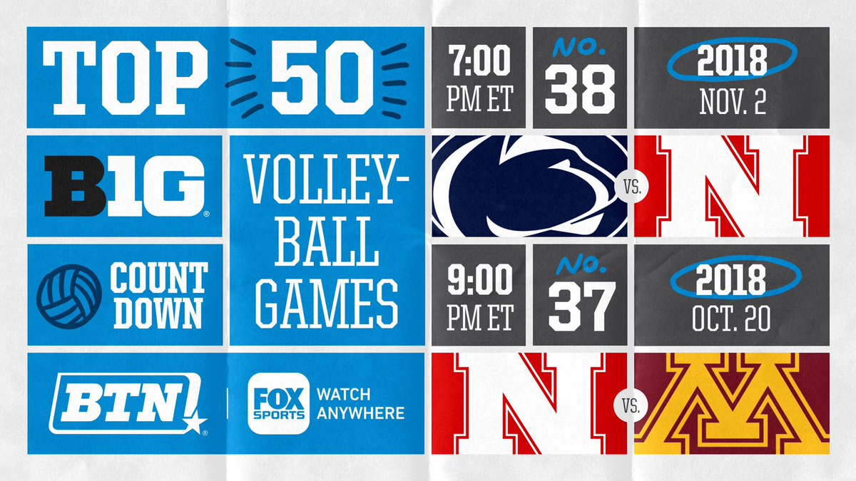 Our countdown of the Top 50 women's volleyball matches in BTN history continues tonight with a doubleheader.   🏐 7 PM ET: @PennStateVBALL vs. @Huskervball   🏐 9 PM ET: @Huskervball vs. @GopherVBall https://t.co/AaaiWdxm0M