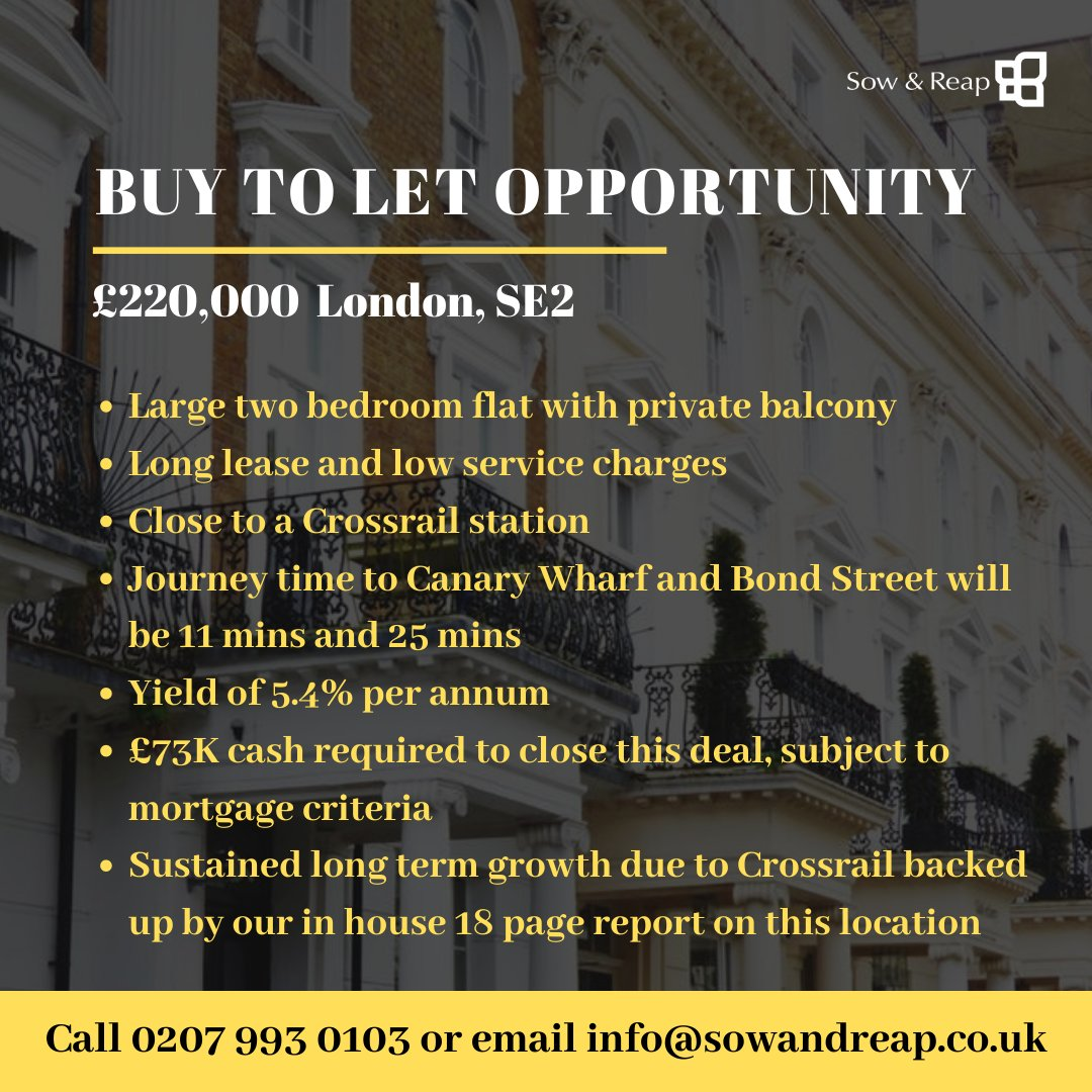 #Buytolet #weactforyou #propertysourcing #propertyladder #SE2 #largetwobedflat #privatebalcony #longlease #lowservicecharge #Crossrail #CanaryWharf #BondStreet #capitalgrowth #location #buyandhold #opportunity #London #BTL #landlord #rentalincome #yield https://t.co/cgcmRBNRGp