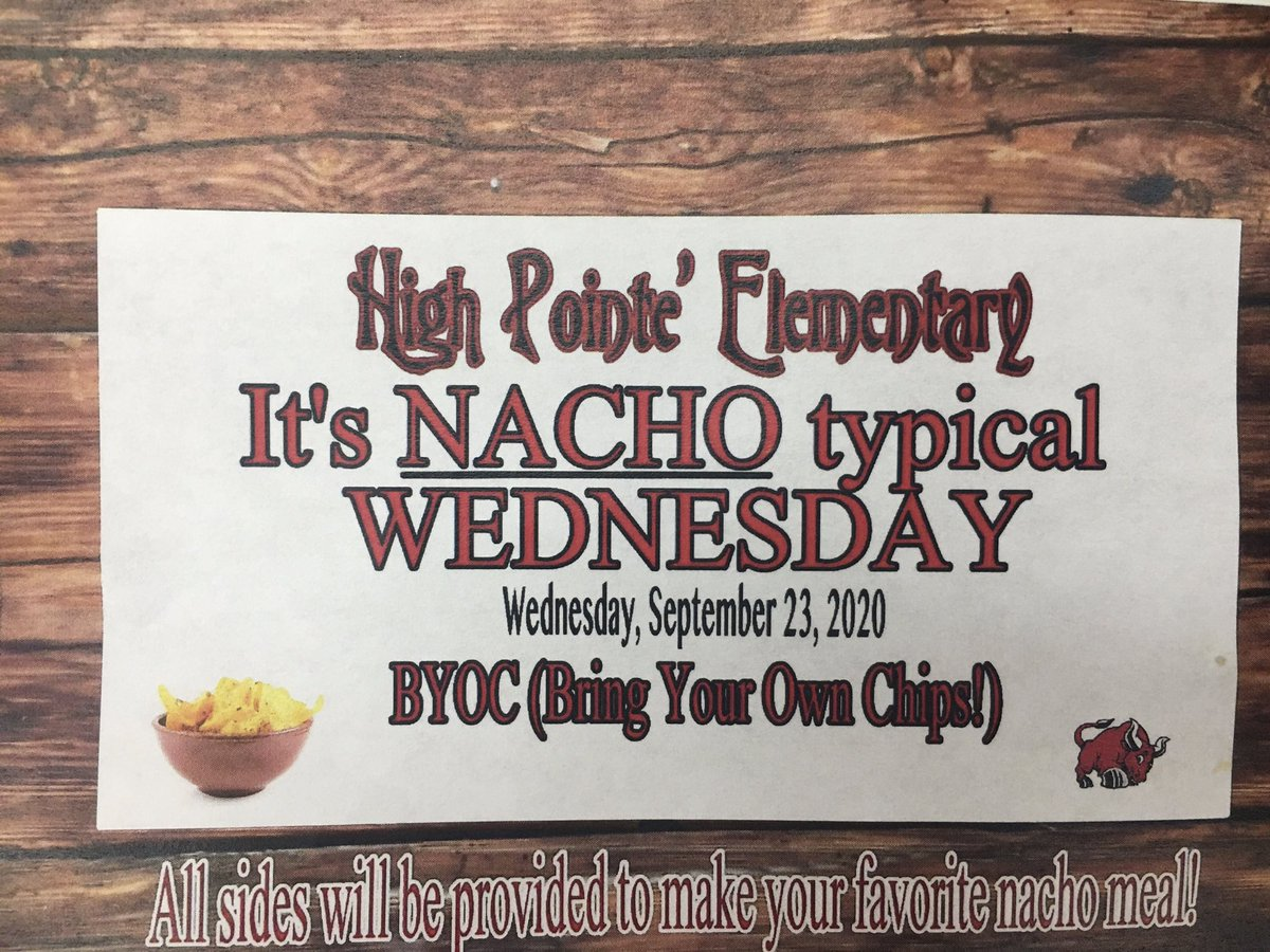 It's NACHO typical Wednesday! We never STOP at Thee Pointe'.. Our HPE Family is EVERYTHING!!! #weloveourschool #SELmoments @SheilaR77542887 @WhittShay @Bouthatlife_116 @ChisdHighpointe https://t.co/8rMnnRSQSR