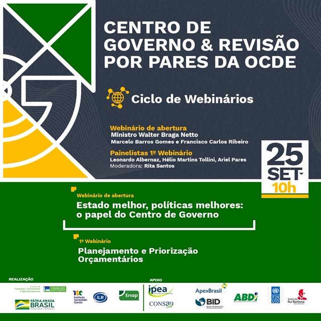 Na próxima sexta-feira, acontece o ciclo de Webinários da Casa Civil sobre a Revisão por Pares da OCDE referente ao Centro de Governo brasileiro. Saiba mais e inscreva-se: https://t.co/J14LoAm2Tw. https://t.co/VmTwlFAKln