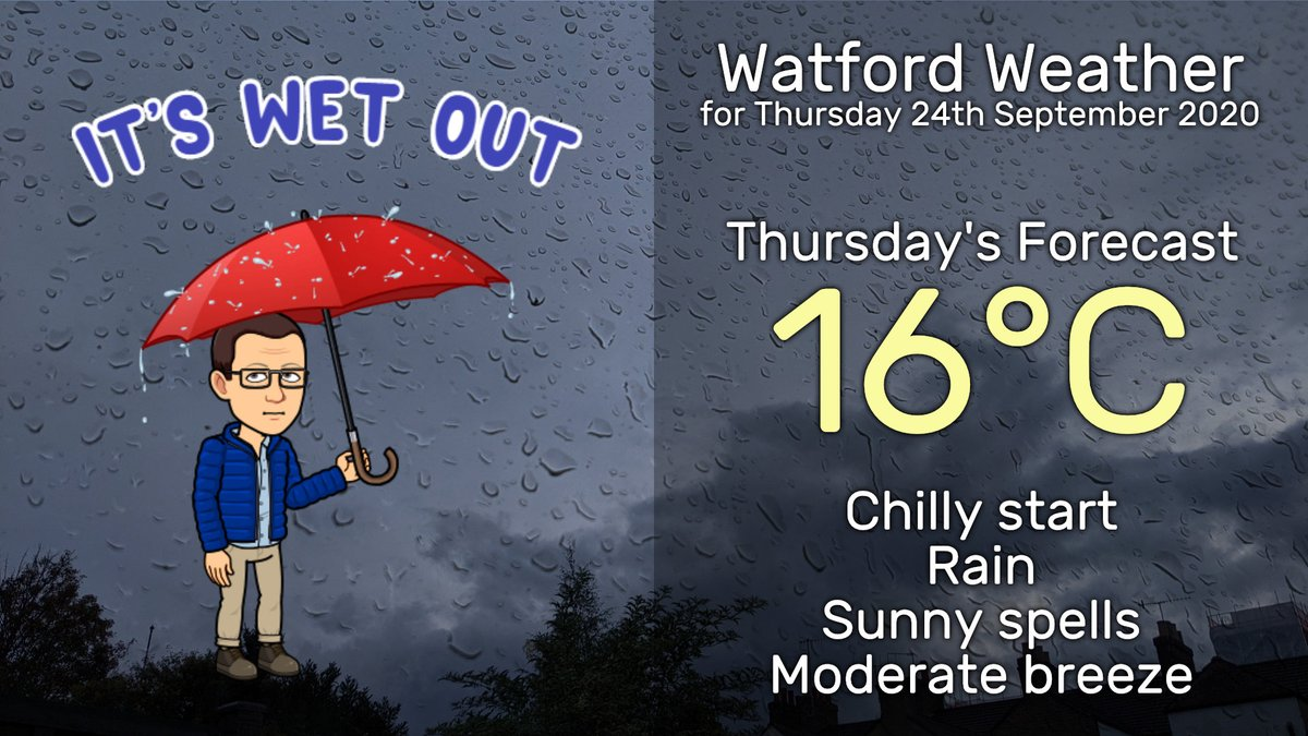 High today in #Watford 17.6°C, we've had 7.6mm of rain so far with more to come tonight. One ⚡️detected earlier.  Tomorrow starts of wet, then sunny spells with a chance of more rain in the afternoon and a moderate breeze from the south-west. https://t.co/O9CKI0AaRK