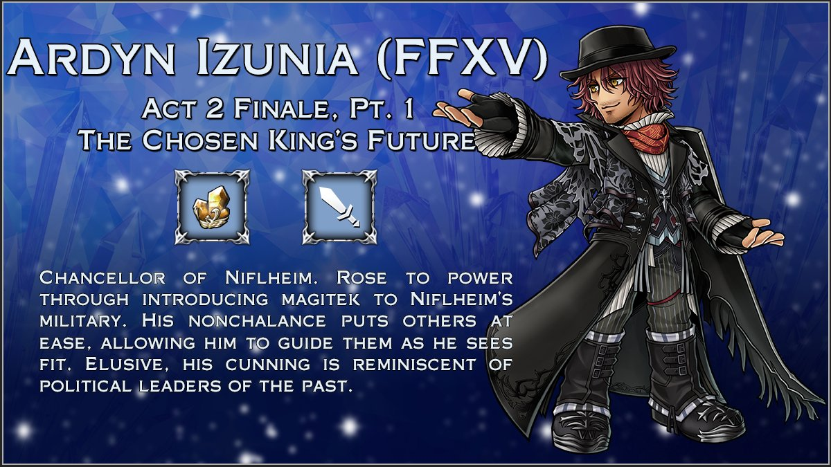 Ardyn Izunia from #FFXV arrives to #DissidiaFFOO tonight at 02:00 (UTC) with the arrival of Act 2 Finale, Pt. 1: The Chosen King's Future! https://t.co/g3V9cze5zs