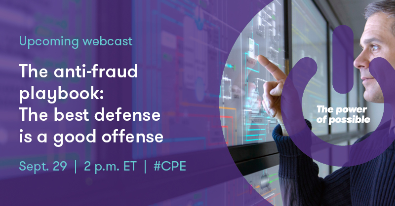 Our James Ruotolo and Frederick Kohm will explore the Anti-Fraud Playbook we co-authored with @TheACFE and will discuss real world examples of #fraud investigations in our 9/29 #CPE webcast. Register now: https://t.co/sPMGLKOT8T https://t.co/IwRGS0jXQN