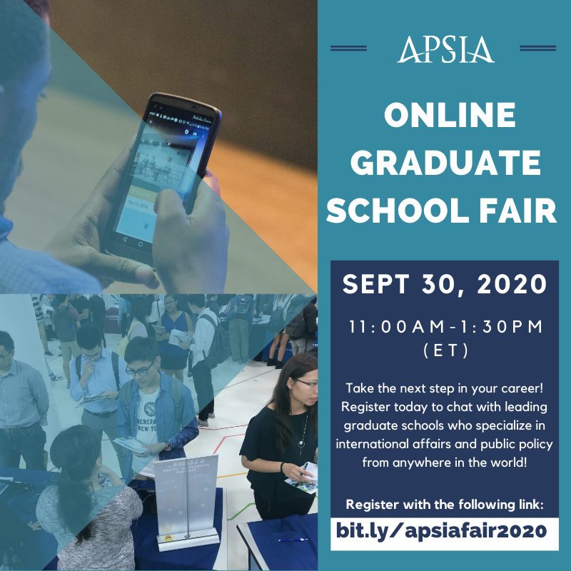 Interested in diplomacy, #natsec, #humanrights, #globaldev, #intltrade, #globalbiz, sustainability, and more? Attend @APSIAinfo's free online graduate school fair on Sept 30 to learn how #gradschool can jump start your career! https://t.co/YsdD13ArFs https://t.co/haoogdnwCp