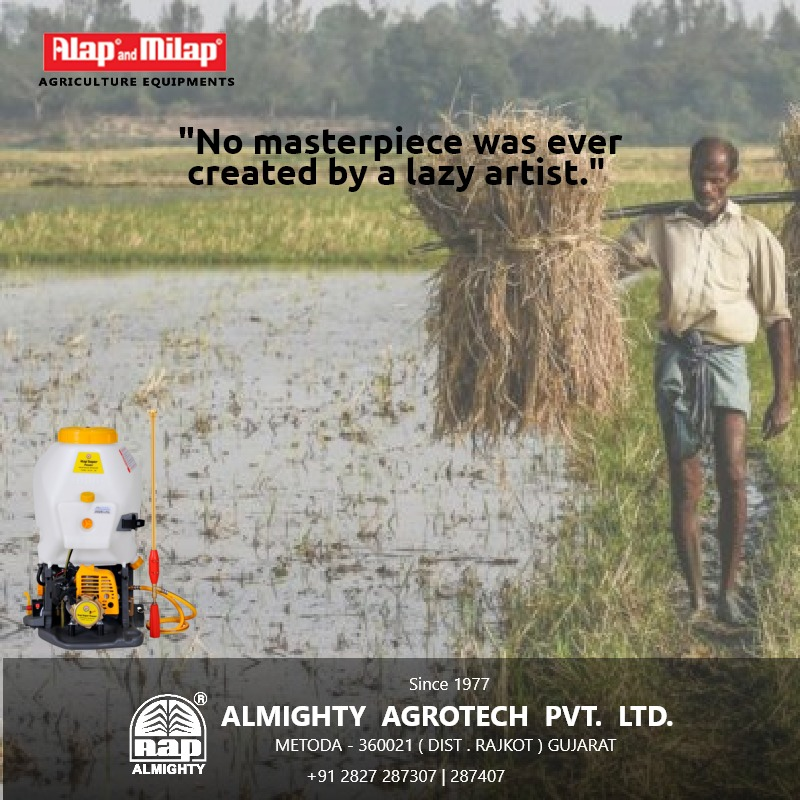 """No masterpiece was ever created by a lazy artist."" #Sprayer #Agriculture #Sprayers #Spraying  #Agricultural #Agro #Farming #Farmlife #Tractor  #Agri #Horticulture #Landscape #Follow  #Batteryoperatedknapsacksprayer #stayhome  #stayhealthy #staysafe  #LocalToVocal #WeWin https://t.co/F0tVVu8mye"