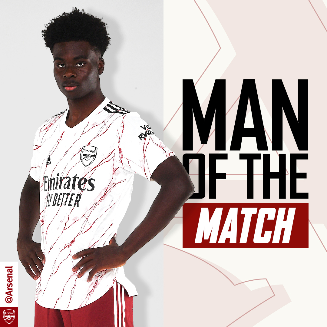 Man of the match against Leicester last night?  You voted for @BukayoSaka87 - congratulations, Bukayo! 🌶