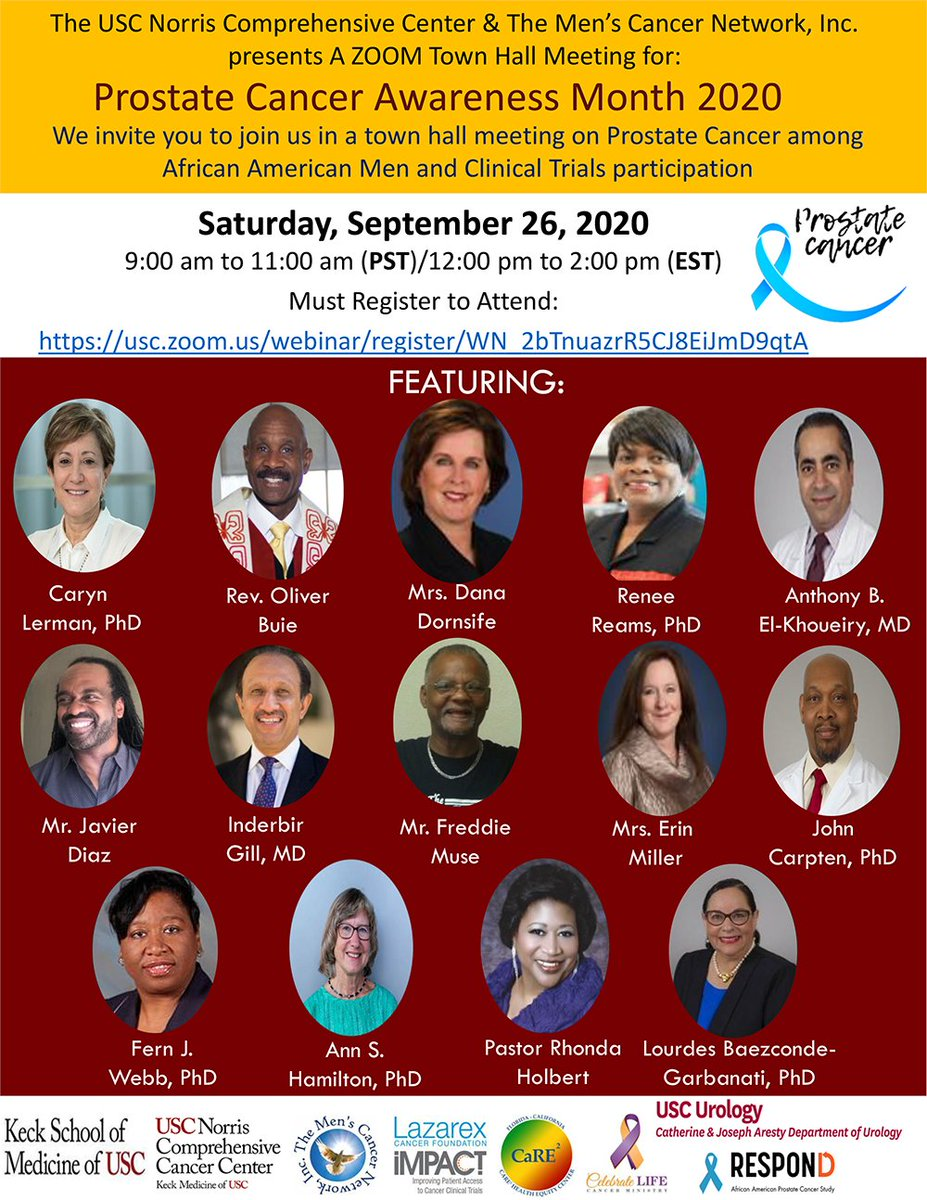Coming up this Saturday, Sept 26. Join @DanaDornsife and @LazarexaErin from @LazarexCF for a Town Hall meeting on #ProstateCancer among African American men and #clinicaltrial participation hosted by @USCNorrisCOE and the Men's Cancer Network  To register: https://t.co/8oSWDeGDKV https://t.co/6yAR0qnGBs