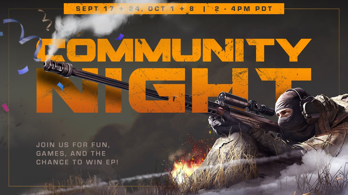 ICYMI: Community Night is back tomorrow! 👀 #RingOfElysium #PlayROE  Sept 24 at 2pm PDT, join in on the fun, games, and EP giveaways 👉 https://t.co/zkJq5bZotn! https://t.co/YUFs9MESjD