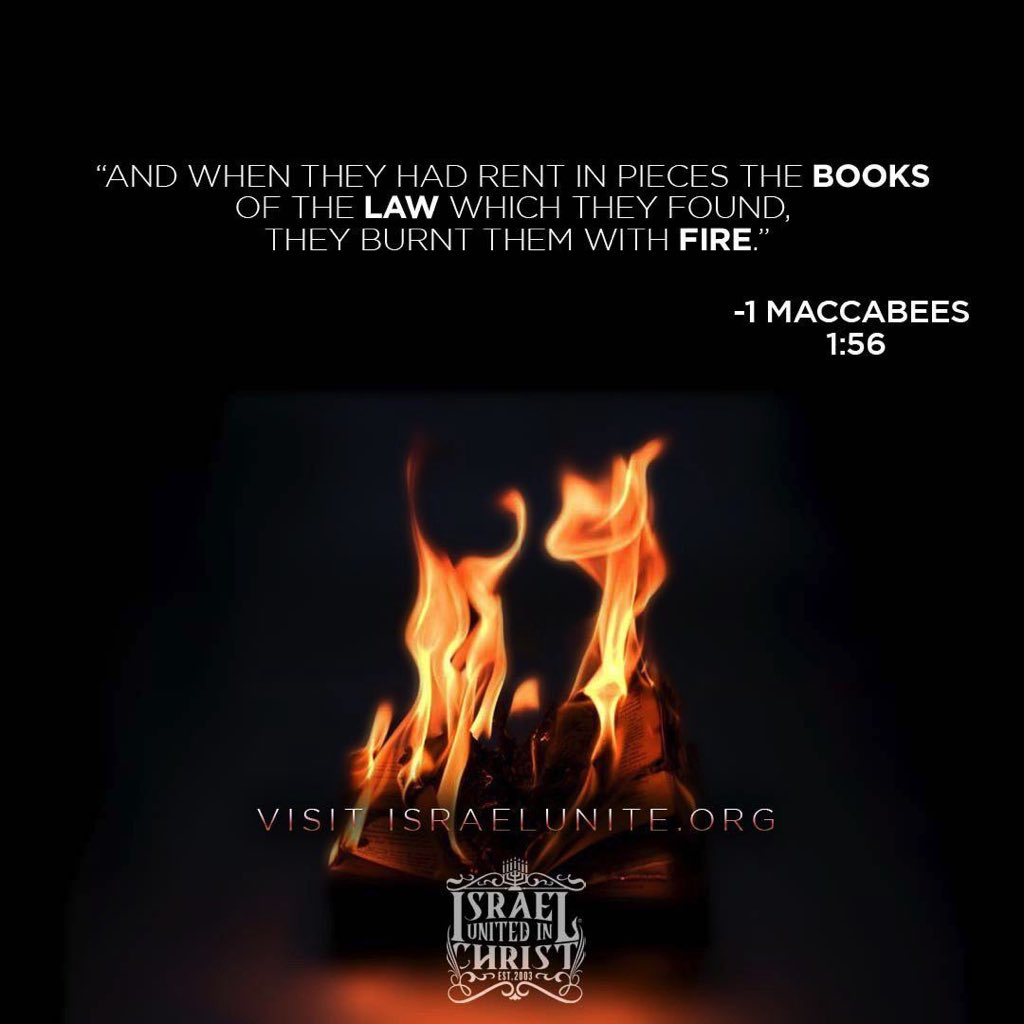 #1Maccabees1:56 And when they had rent in pieces the books of the law which they found, they burnt them with fire. #BibleVisuals #DailyBread #Scriptures #Verses #Bible #BibleImagery #BibleVerses #IUIC @shaneharrisnow #SanDiego https://t.co/3f4UIyYuuO