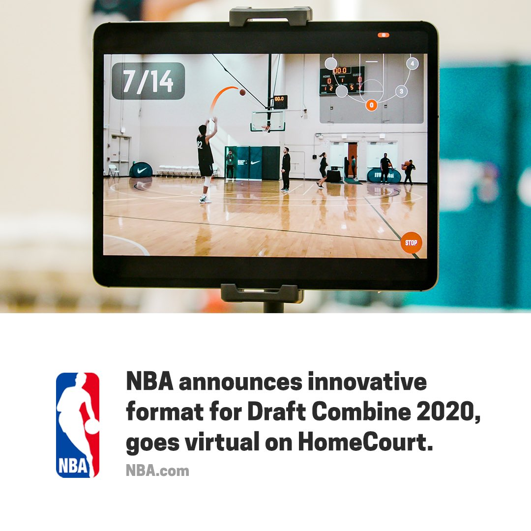 """""""As part of the event's innovative format, the NBA will incorporate HomeCourt, a mobile basketball training application that uses advanced machine learning and computer vision.""""  https://t.co/pWRbZpMSTJ  #nba #draftcombine #nbadraft #homecourtai #nbaglobalscout #nbadraft2020 https://t.co/pZmlfSbPq9"""
