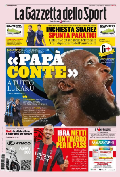 """Gazzetta dello Sport: """"#Conte like a father"""" says #Lukaku The coach really understands me playing with him is like a dream #Vidal's arrival is very important, we needed quality and experience. After the loss in the #EuropaLeague final, I haven't spoken for 4 days #Inter #Gds https://t.co/ZrWHVQl9Ar"""