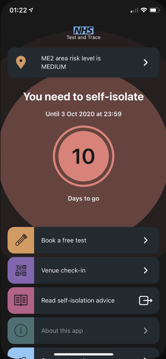 I wanted to see what would happen if I told the #NHSCOVID19app that I had symptoms (I don't), I can't turn it off! Am I legally required to self isolate now? 😂 https://t.co/I6V7MD8Trb