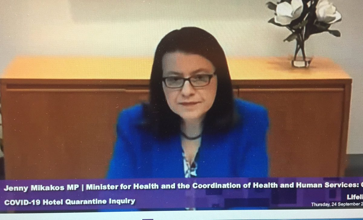 "Health Minister tells the hotel quarantine inquiry that she has high level responsibilities (around things like funding and policy) rather than dealing with daily ""operational matters"" .. but would expect to have serious issues escalated to her by Dept. https://t.co/zhhRHHG93K"