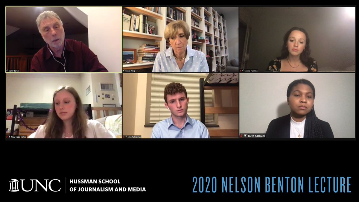 Great conversations: Thank you, @PostBaron, for your perspective and context, and to host @DeanSusanKing and our #UNC Hussman students Sophia Fanning, Mary Slade McKee, John Ratkowiak and Ruth Samuel for tonight's thoughtful questions exploring the central debates of journalism.