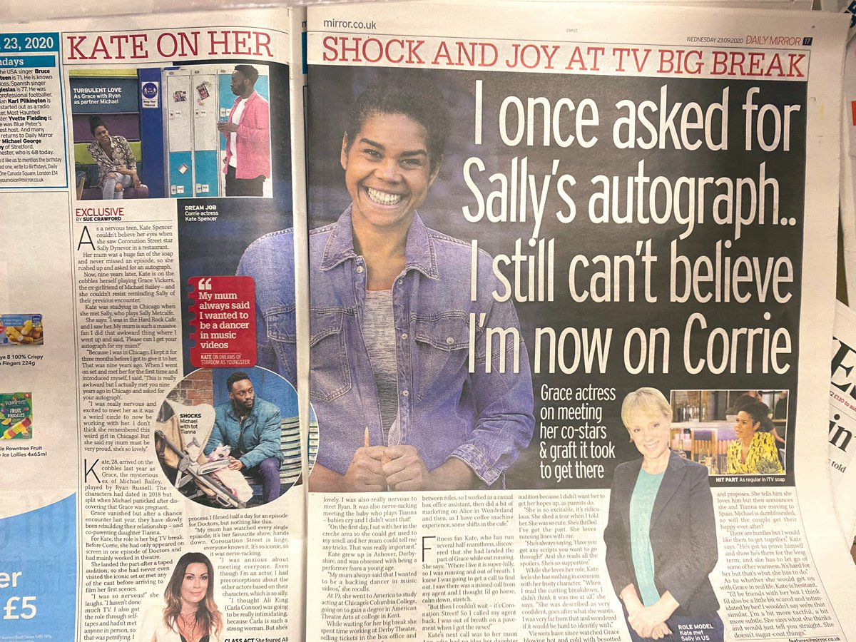 Spread in today's Daily Mirror 📰   Kate Spencer on #Corrie fan girl-ing, co-stars and her new role on the cobbles 📺 🗞  @KSpence17   @DailyMirror @itvcorrie #DailyMirror #Grace https://t.co/JYpfyNsxeN