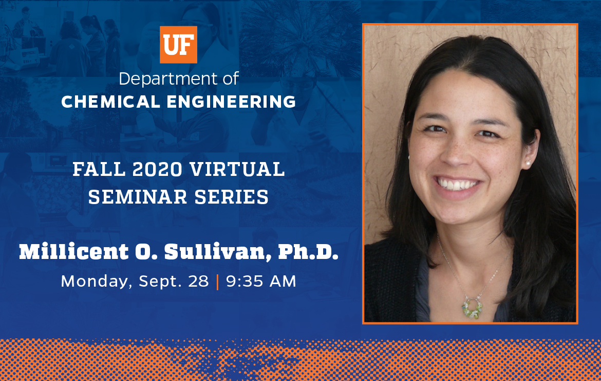 """Millicent O. Sullivan of @UDChBE presents, """"Unlocking Intracellular Therapeutic Targets Using Bioinspired Materials"""" @UFLChE on Monday, Sept. 28. Join us via Zoom at 9:35 a.m. #Engineering #Seminar #UFWertheim https://t.co/oDbQKaVgRr"""