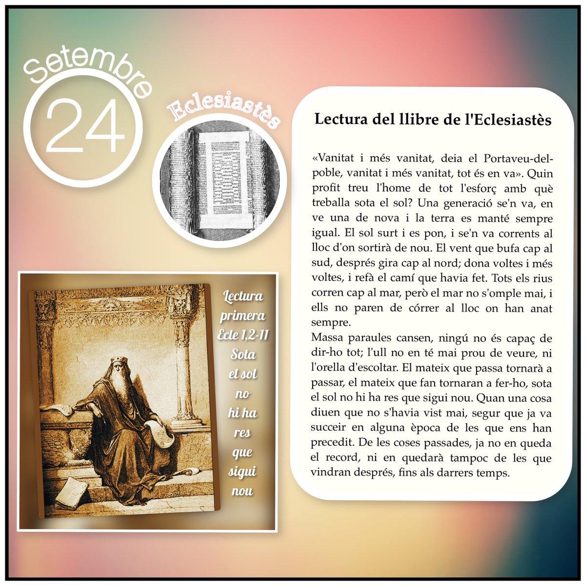 #Lectures de la #SantaMissa del  #DIJOUS DE LA SETMANA XXV DURANT L'ANY / II  #Evangelideldia 🙏  Beneït sigui DÉU i lloada la seva Glòria ❤ !!! https://t.co/3opNKOjH8g