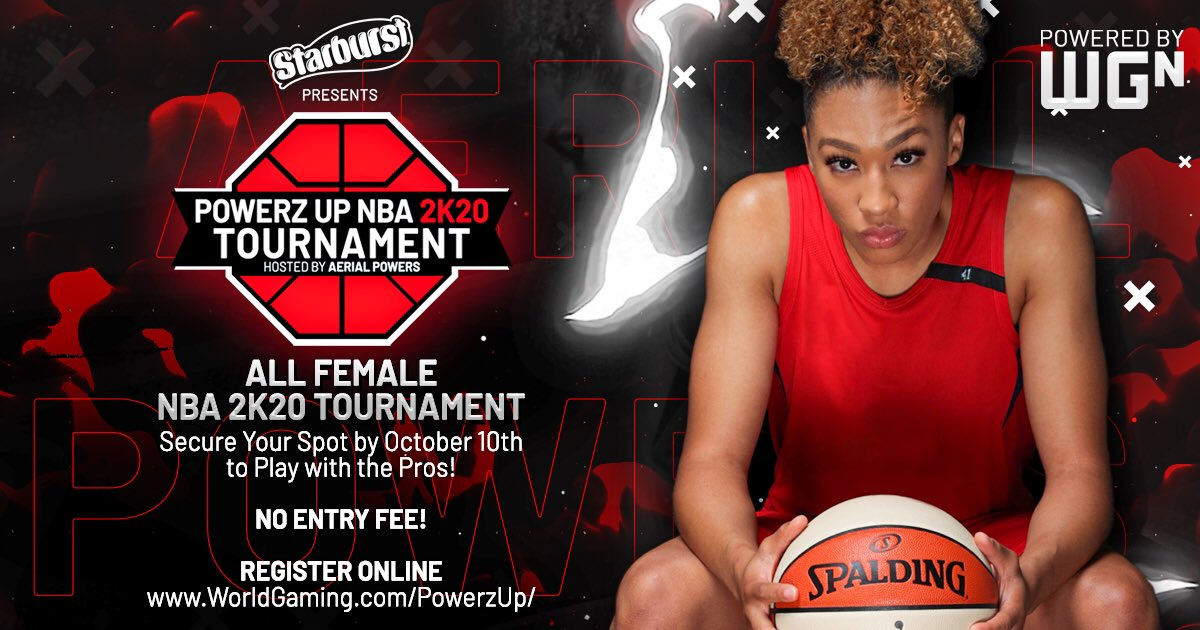 Demonstrate your skillz and shoot your shot in the all-women's Powerz Up #NBA2K20 Tournament hosted by @aerial_powers23, presented by Starburst.  Open to all women globally of all skill levels!  Sign up now: https://t.co/SzvBAJYWsP https://t.co/R04G25XkHA