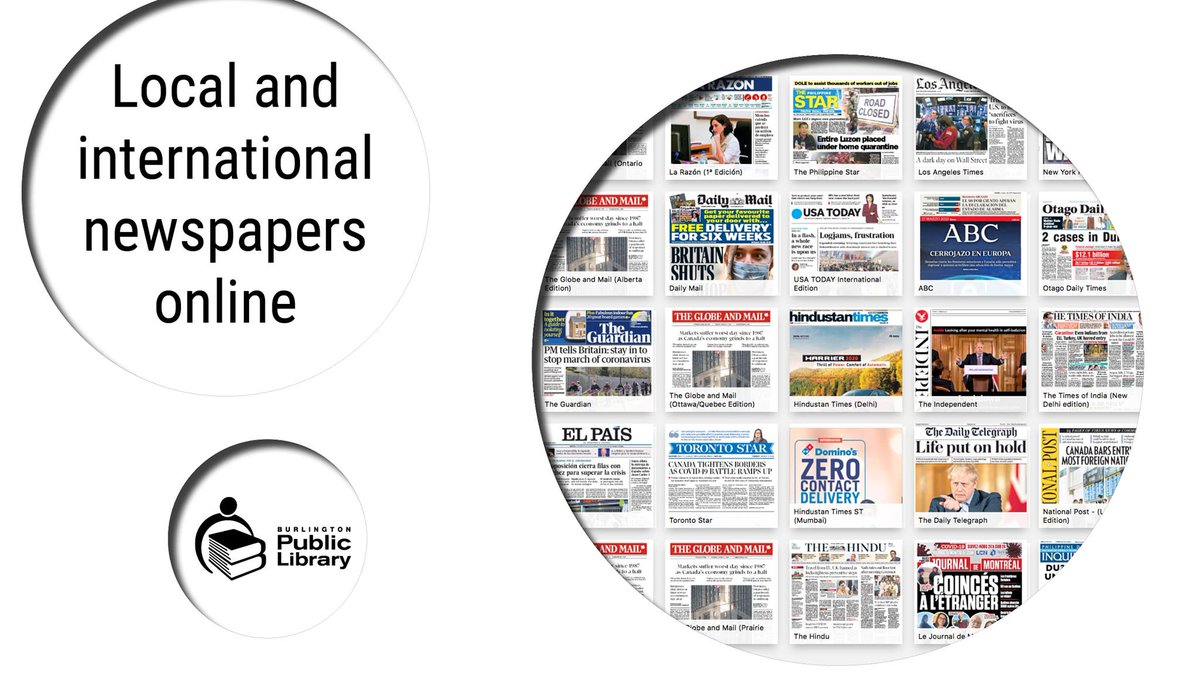 #BurlON residents - get your library card at https://t.co/WiVitIfBqE and instantly access newspapers from over 100 countries. Download the PressReader app or login with your library card at https://t.co/Ftj6D0yNoi   Learn more about our online resources at https://t.co/PS24bk5GK4 https://t.co/3qbaMTT9SI