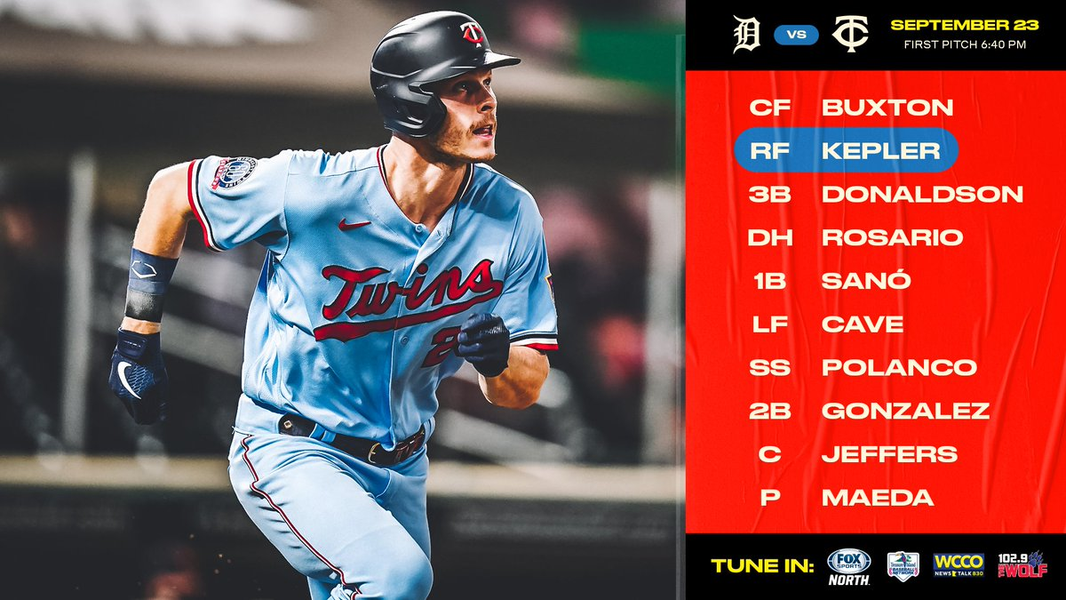 RT @Twins: Going for the 2-game sweep against the Tigers tonight! https://t.co/SyWXCWRQoU #MNTwins https://t.co/UYudye9JNG