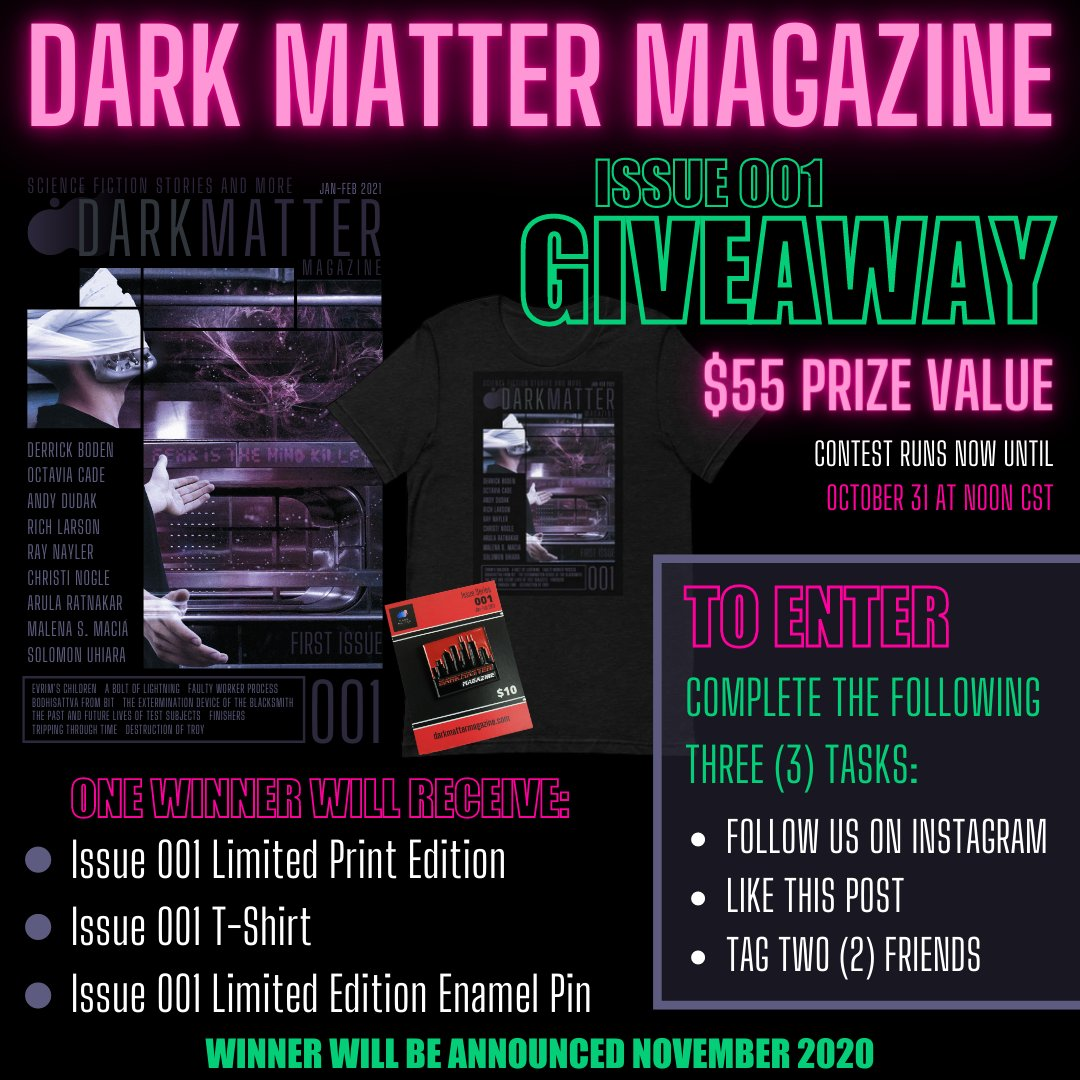 Our Instagram contest has begun: https://t.co/AZWDnRPRJW Enter via Instagram using the link above. Entry is free. #WritingCommunity #amwriting #scifi #horror #weirdfiction #cyberpunk #paranormal #supernatural #scifibooks #GiveawayAlert #ContestAlert #books #tshirts #EnamelPins https://t.co/Z9tKwYvhX0