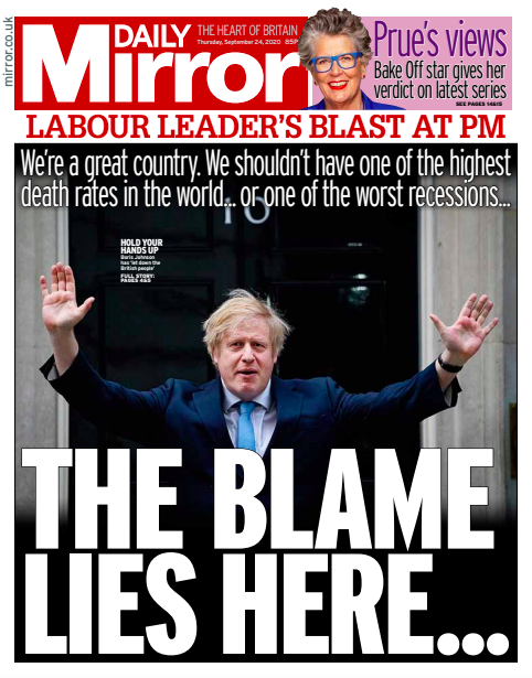 Thursday's Mirror: The blame lies here #TomorrowsPapersToday #DailyMirror #Mirror https://t.co/l0b3Bdwm8t