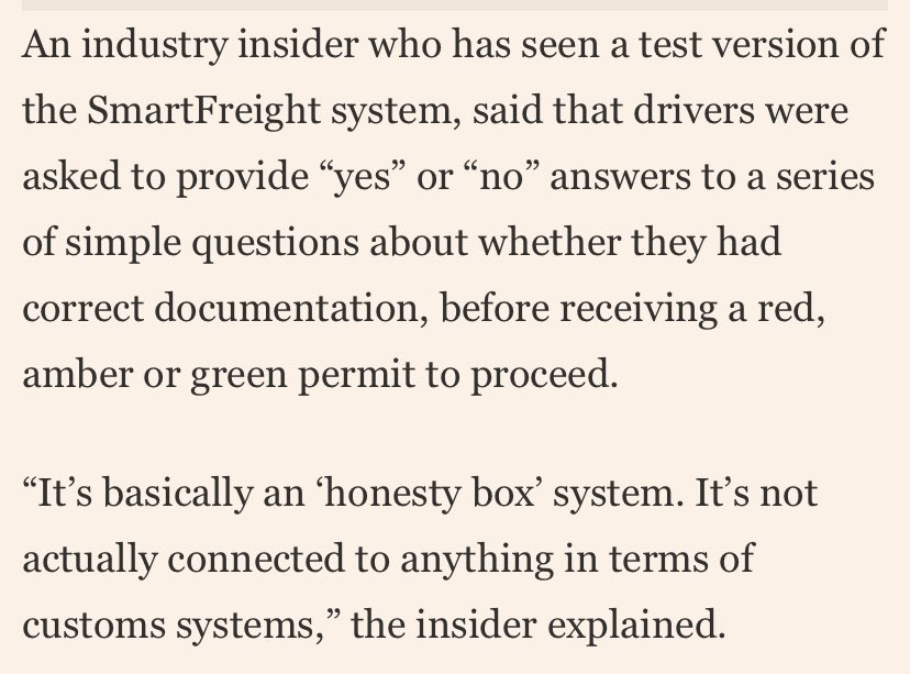 """The SmartFreight isn't that """"smart"""" - the only data you input, I'm told, is your vehicle reg number. Otherwise it's yes/no answers. /2 https://t.co/DMuVZojVW1"""