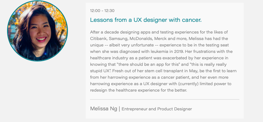 *Speaker Announcement* Founder of @getbravely & @melewi Melissa Ng  Topic: Lessons from a UX Designer with Cancer  Join our international UX Healthcare Community https://t.co/JGX2bOLAst  #UX #UXHealthcare #UXResearch #Usability #DesignThinking #DigitalTherapeutics #DigitalHealth https://t.co/8DrgXLy0Vl