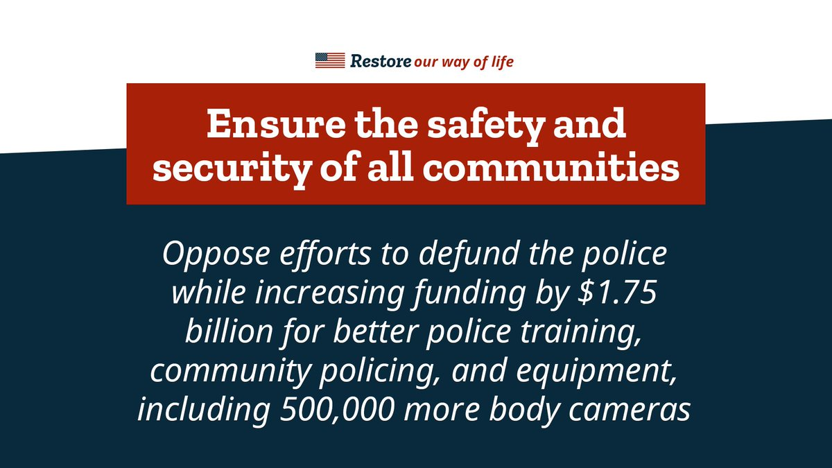 Republicans are committed to RESTORING our way of life.  This means ensuring the safety and security of all communities across the country by supporting our brave law enforcement officers. #BackTheBlue https://t.co/yhT7bNKxLb