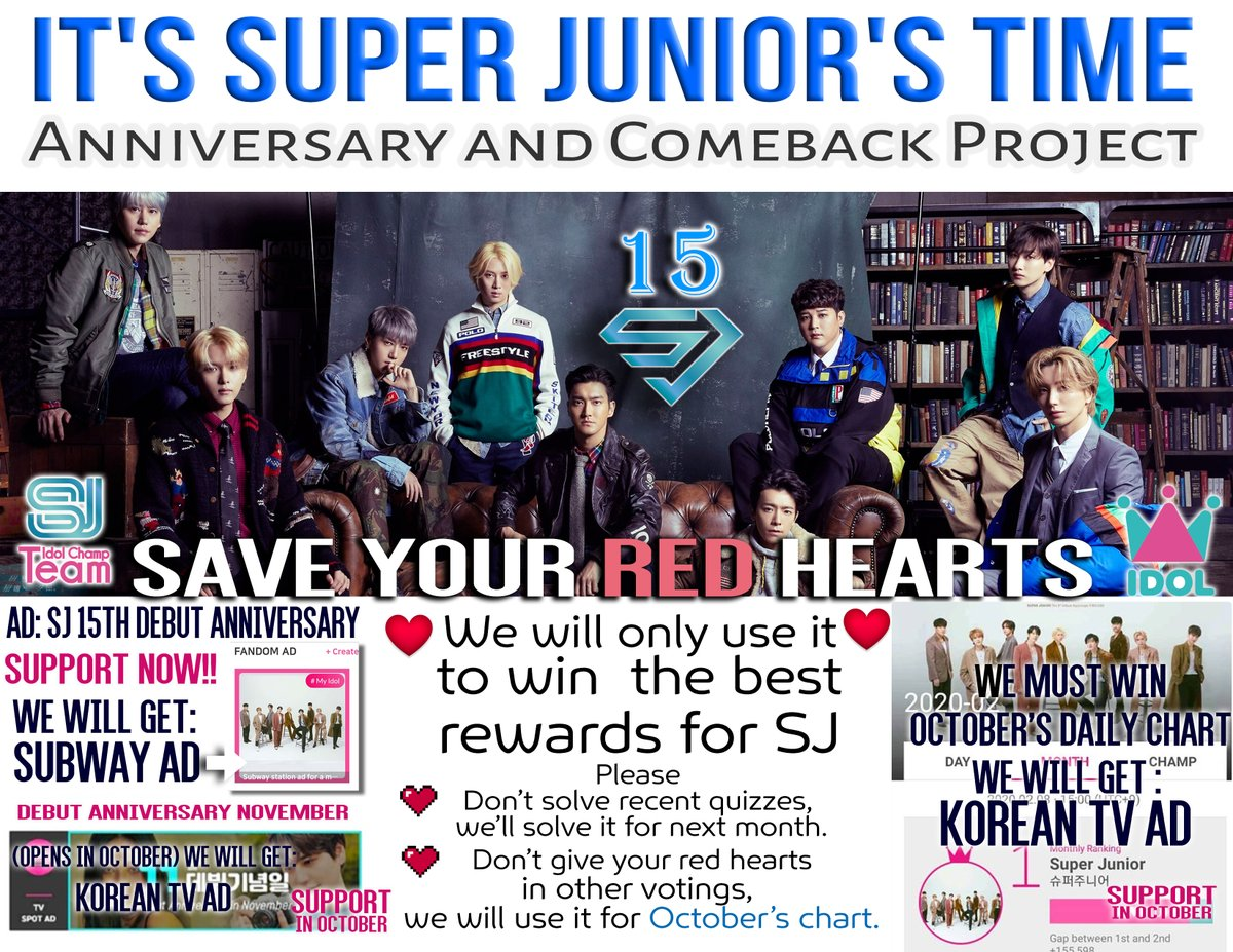 ✨⚠️PROMOTION: Anniversary & Comeback Project⚠️✨  ELF, let's work to get a TV spot for #SUPERJUNIOR in November  🤓What you have to do?  ✅Download IdolChamp ✅Start gathering ❤️ to support @SJofficial on the daily chart in October ✅Don't solve recent quizzes  😎We can do it!! https://t.co/ZSoQTzuJTl