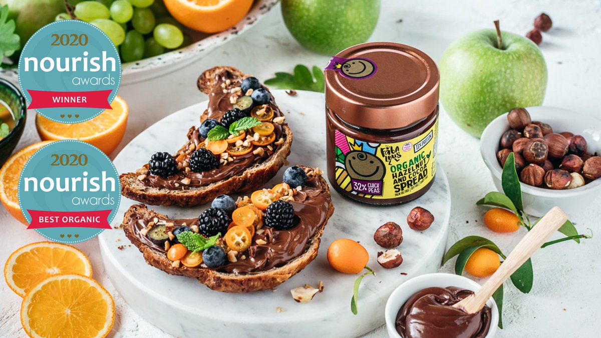 We're proud to announce @befabalous #hazelnut and #cocoa #chickpea spread has won in the Wild Card Product category and in the Best Organic Product category at @NourishAwards #nourishawards2020 #foodinnovation #healthyfood #chocolate #nourishingneighbors  https://t.co/LFsNSBKsb4 https://t.co/dWS0AFYbfN