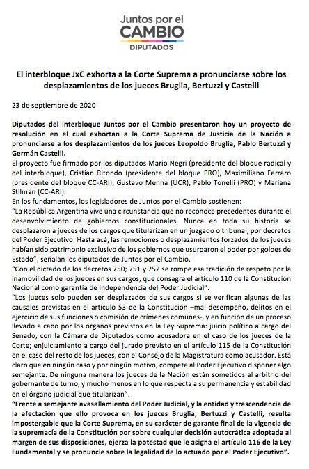 Desde el Interbloque @juntoscambioar exigimos que la Corte Suprema se exprese sobre los desplazamientos de los jueces Bruglia, Bertuzzi y Castelli. Estamos siendo testigos de acciones inconstitucionales sin precedentes en un gobierno democrático. https://t.co/wFq3V213i7