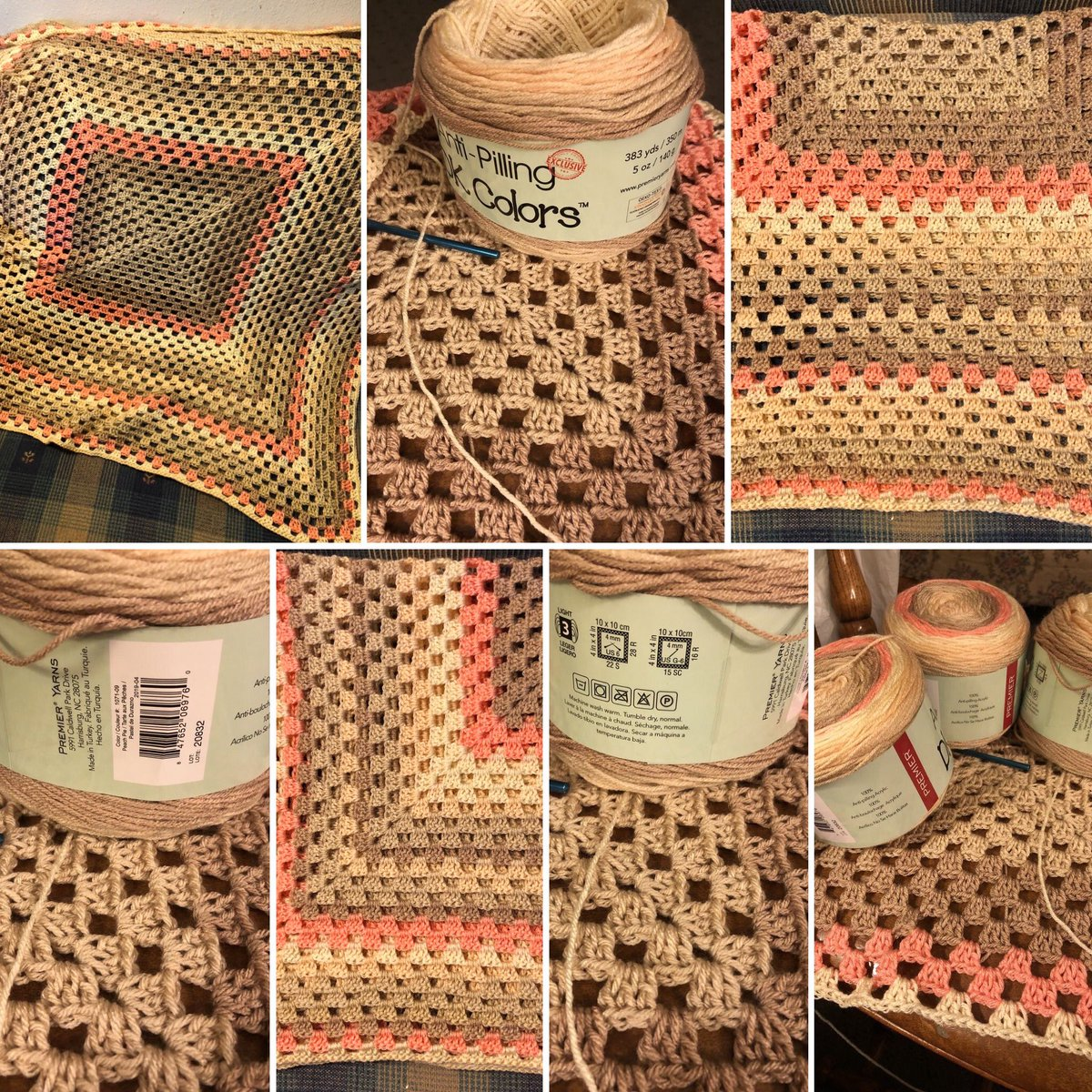🧶 This very cool 😎 self striping yarn made a wonderful baby sized blanket. The color is 'Peach Pie.' It turned out more like 'Creamcicle.'  #hobbies #babyblanket #crochetingmylifeaway #crochetpattern #grannysquare #endlessgrannysquare #crochetbabyblanket #yarn #yarnaddict https://t.co/dF7fmSE5nU