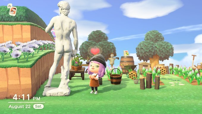 Juicy 🍑   #ACNH #AnimalCrossingNewHorizions #AnimalCrossing #Peaches #StatueOfDavid #Redd #ACNHArt https://t.co/SSbHIJzcfr