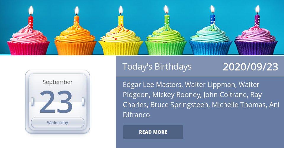 Famous Birthdays for Sep 23, 2020 => Read the rest at: https://t.co/3WSQyreBP7 #HappyBirthday https://t.co/pSFdLnDjJK