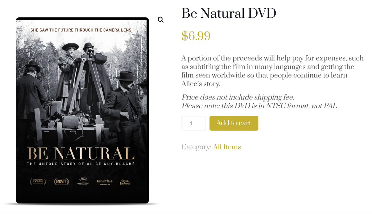 Do you love #BeNatural directed by @_pamelabgreen? You can own the #DVD for $6.99 for a limited time only! Bring the #MotherOfCinema #AliceGuyBlaché home to you and help restore her #legacy. #FemaleFilmmakers  https://t.co/JkDpSylpsR https://t.co/dVCnoBSFsg