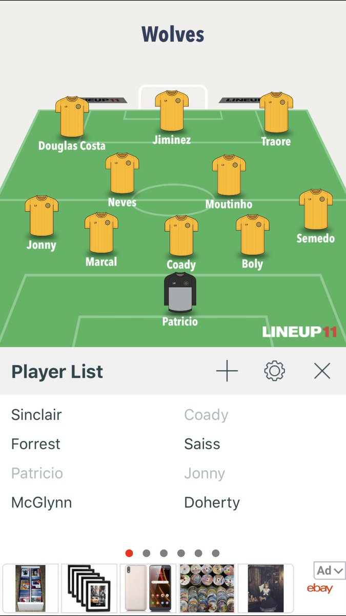 Hearing strong Douglas Costa rumours to replace Jota, if true this is how I now imagine us to line-up with everyone fully fit what a fucking team: #wwfc https://t.co/x98HsxkScQ