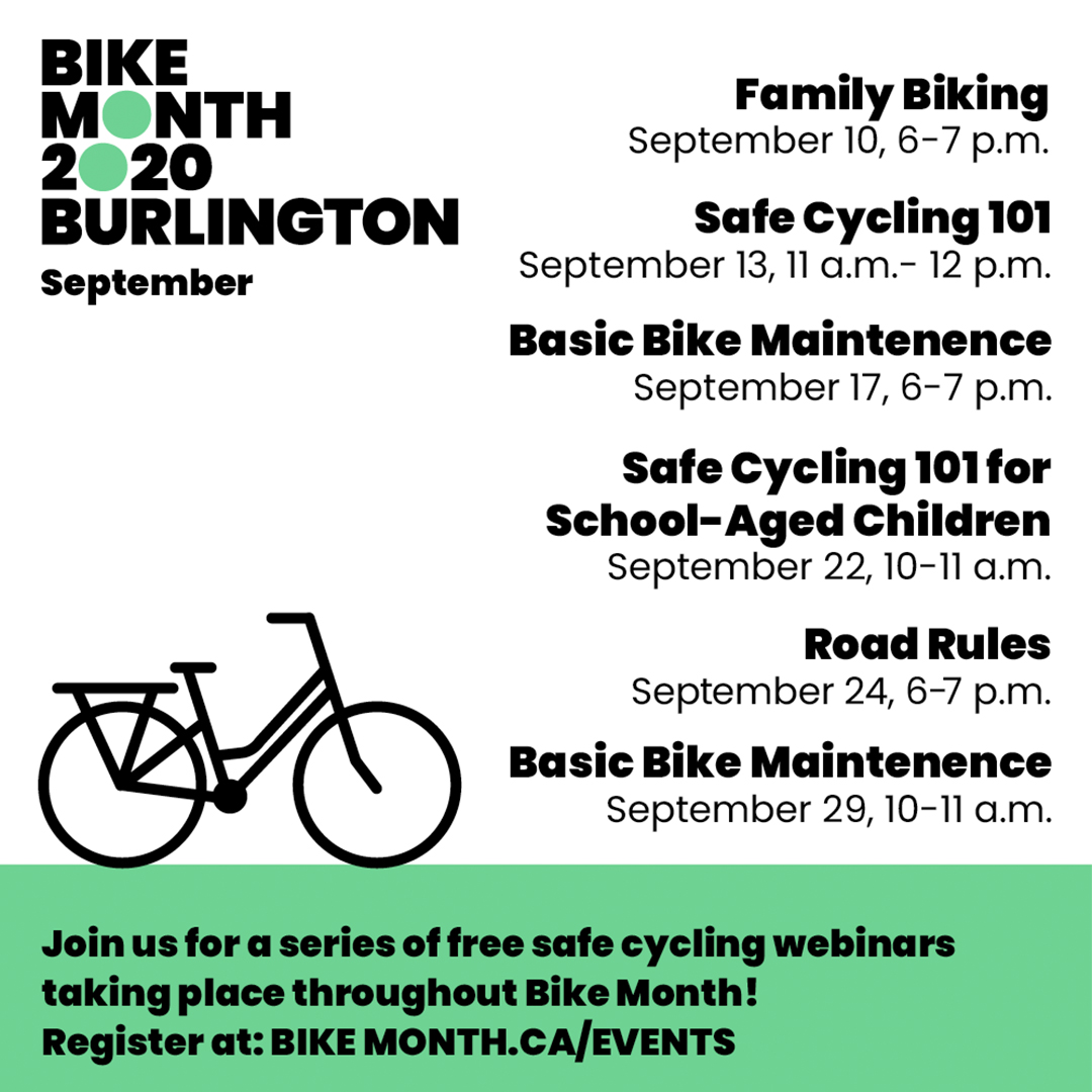 🚲  September is Bike Month! Learn about cycling with kids, bike maintenance, road rules and more with free webinars. RSVP on Facebook and get the links to register for the Zoom sessions at https://t.co/RBcfoUg8p9.  #BikeMonth #BurlON https://t.co/govtXD7QM0