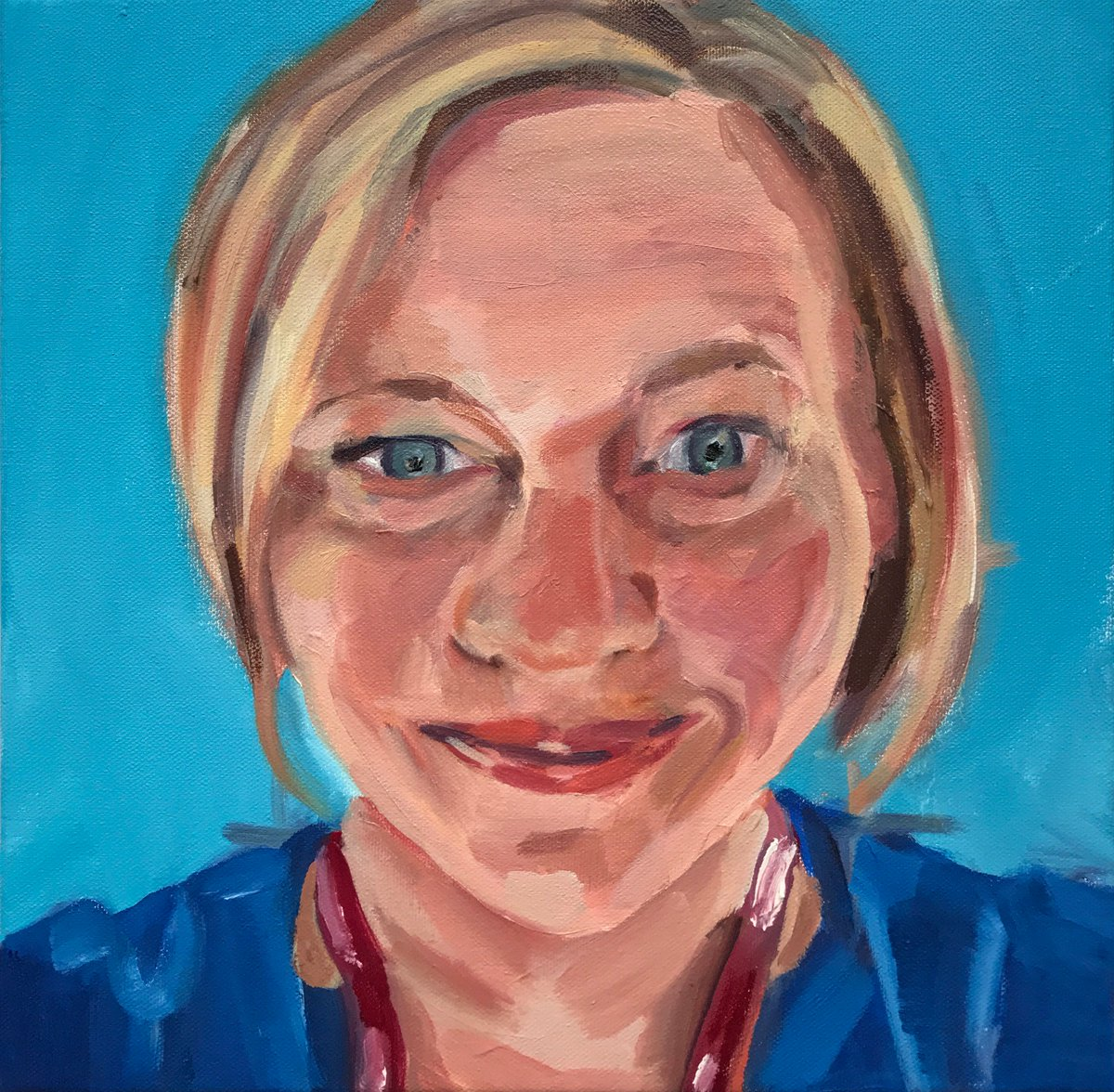 My seventh finished #portraitsfornhsheroes painting for the @tomartist32 project. This is Bronwyn Middleton @bbmidd a consultant Obstetrician and Gynaecologist at St Richard's Hospital, Chichester @westernsussex where she has worked for 7 years #NHSheroes #painting #portraiture https://t.co/9V4oy7esCK