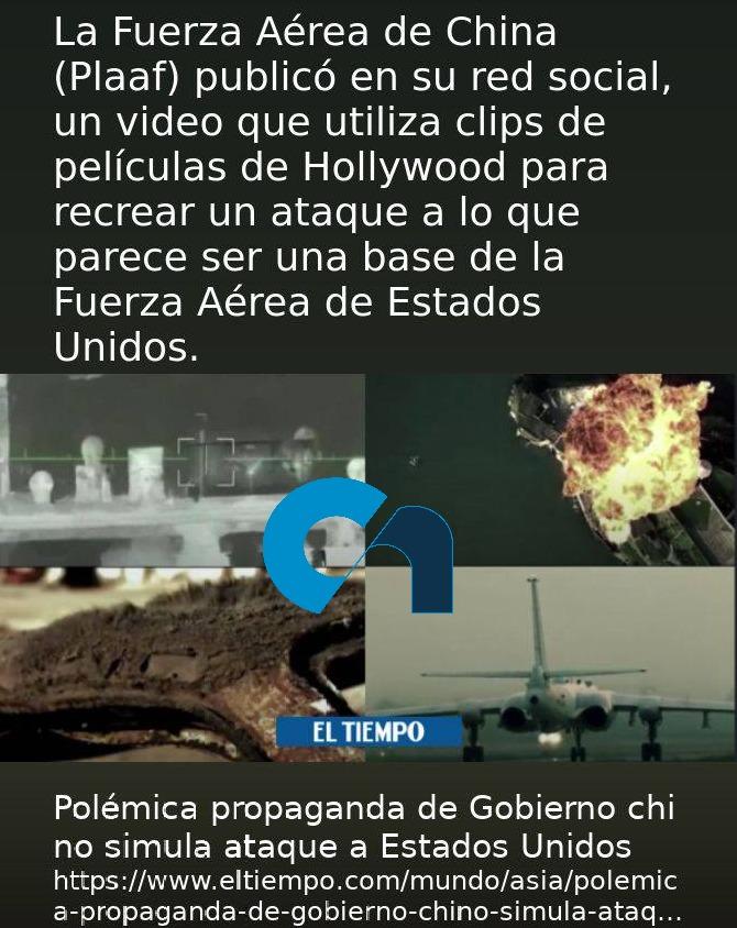 Polémica propaganda de Gobierno #Chino simula #ataque a #EstadosUnidos  Fuente: @ELTIEMPO   #Noticias #Mundo #Asia #China #Oriental #VIDEO #RedesSociales #Guerra #EEUU #TrumpFailed #latino #Miercoles #Hoy #HoyMismo #FacebookLive #Twitter #Instagram #quedateencasayora #viral2020 https://t.co/oxU0SHdGVc