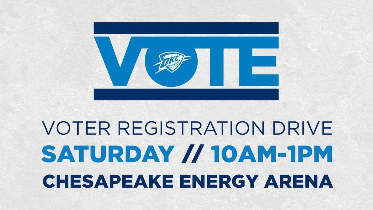 While you'd normally be able to register to vote at the Fair, this year you can register at the @okcthunder Vote: Registration Drive, Sept 26 & Oct 3! There's free parking, tons of helpful info, and a free shirt!  🗳️ Get all the details here > https://t.co/R1fGrtTACt https://t.co/LeTKA4rN39