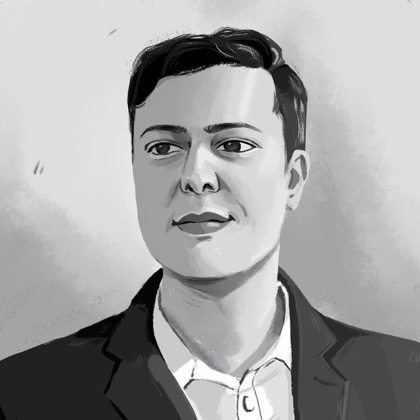 """This week in """"My life is weird,"""" the nice people at @TheCovatar reached out and asked if they could sketch me. I demanded they do so in black and white, to keep with trade twitter traditions.   Given the terrible subject, damn fine work by the artist, @TheCovatar's Polinavur. https://t.co/KtcuAegSmZ"""