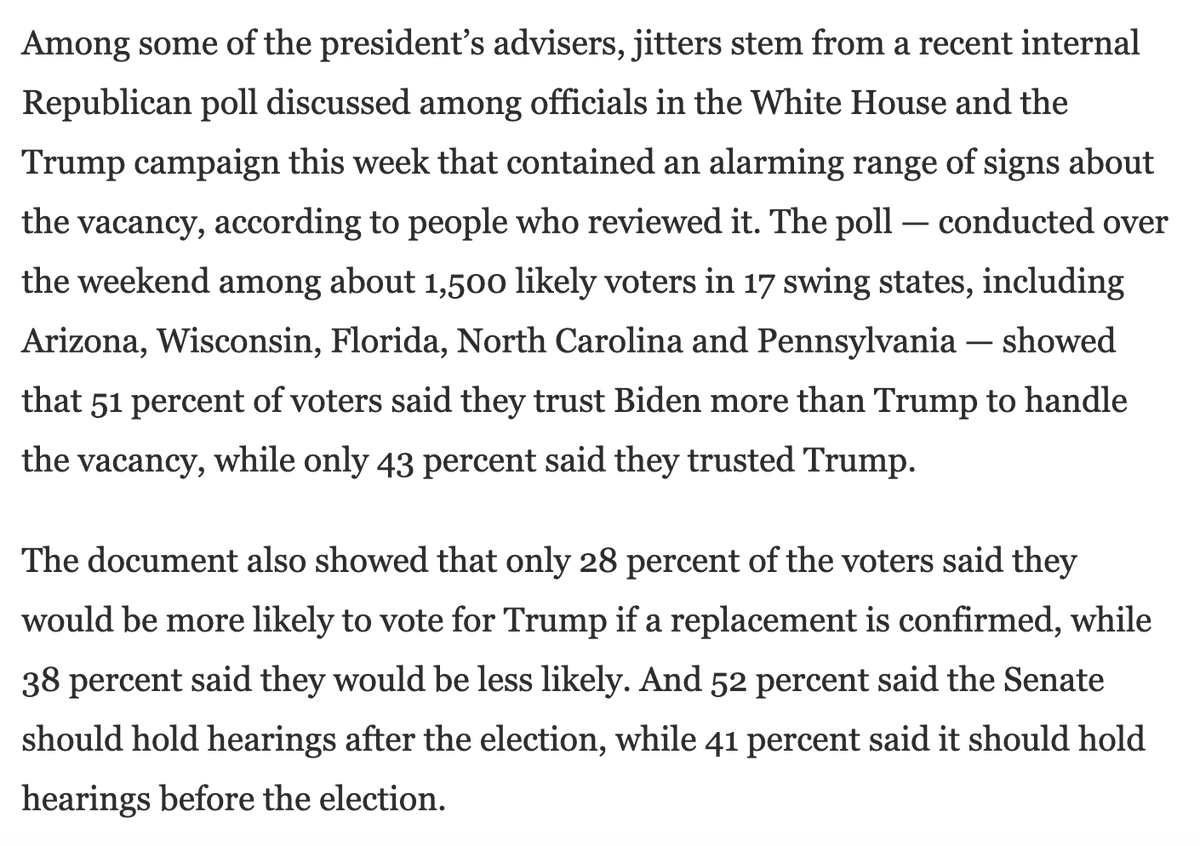 Scoop by @rachaelmbade @jdawsey1 @pkcapitol: GOP internal polling found that voters prefer a post-election SCOTUS hearing and prefer Biden fill the seat.  https://t.co/36C7hiuXX7 https://t.co/96zNWwHoNf