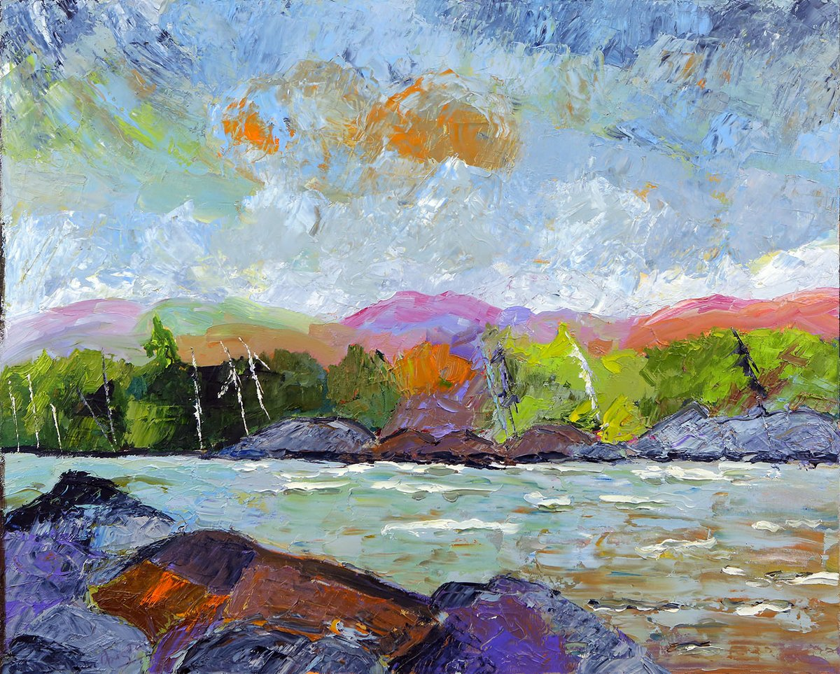 """Don Graves captures a """"Stormy Day On Trout Lake"""" in this oil painting, part of the Featured Artworks and up for bids during our 49½ Art Auction. More photos of this and all our artwork up for bids at https://t.co/1v8utkdZzn.  #hamarts #hamont #BurlON #troutlake #ancaster #dundas https://t.co/sXl2TTJz2p"""